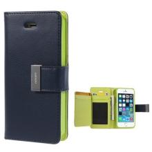 Vyklápěcí pouzdro - peněženka Mercury pro Apple iPhone 5 / 5S / SE - s prostorem pro umístění platebních karet - modro-zelené