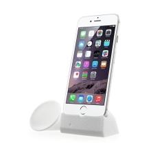 Přenosný silikonový stojánek KALAIXING se zesilovačem zvuku pro Apple iPhone 6 / 6S / 7 - bílý