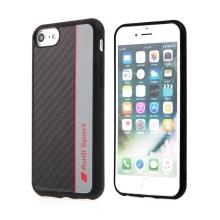 Kryt AUDI Sport pro Apple iPhone 7 / 8 / SE (2020) - karbon / černý + červený nápis