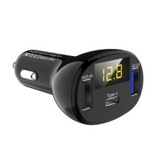 Autonabíječka / adaptér - USB-C + 2x USB - 30W - rychlé nabíjení - černá