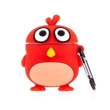 Pouzdro / obal pro Apple AirPods - červený pták - silikonové - červené