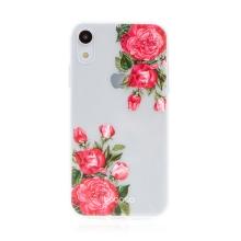 Kryt BABACO pro Apple iPhone Xr - gumový - průhledný - růže