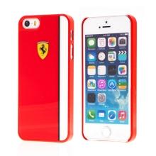 Kryt FERRARI pro Apple iPhone 5 / 5S / SE - plastový - logo Ferrari - červený