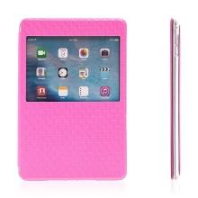 Pouzdro pro Apple iPad mini 4 - stojánek, prostor na doklady a průhledné okénko - růžové