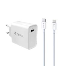 2v1 nabíjecí sada DEVIA 20W pro Apple zařízení - EU adaptér a kabel USB-C / Lightning - bílá