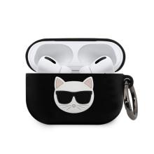 Pouzdro KARL LAGERFELD pro Apple AirPods Pro - kočka Choupette - silikonové - černé