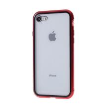 Kryt pro Apple iPhone 7 / 8 / SE (2020) - magnetické uchycení - sklo / kov - 360° ochrana - průhledný / červený