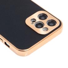 Kryt pro Apple iPhone 12 Pro - kožený + pokovený povrch - černý / měděný