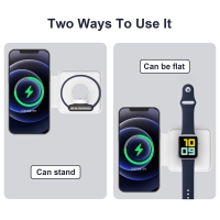 2v1 bezdrátová nabíječka Qi / nabíjecí podložka pro Apple iPhone / Watch - podpora MagSafe - cestovní - bílá