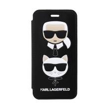 Pouzdro KARL LAGERFELD pro Apple iPhone 7 / 8 / SE (2020) - hlava Karla a Choupette - umělá kůže - černé