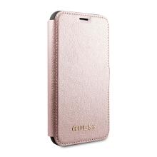 Pouzdro GUESS IriDescent Book pro Apple iPhone 12 / 12 Pro - umělá kůže - Rose Gold růžové