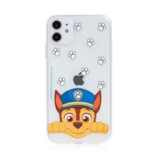 """Kryt """"Tlapková patrola"""" pro Apple iPhone 11 - gumový - Chase - průhledný"""