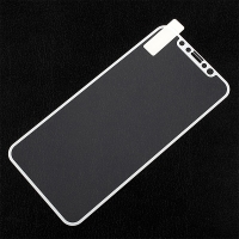 Tvrzené sklo (Tempered Glass) pro Apple iPhone X - na přední stranu - bílý rámeček s texturou - 0,3mm