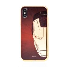 Kryt MARVEL Luxury pro Apple iPhone X / Xs - gumový - červený / zlatý - Iron Man
