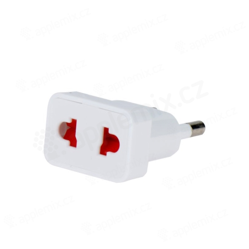 Přepojka / adaptér / redukce - z US (zásuvka) na EU (zástrčka), max. 10A - bílá