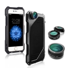 Pouzdro / kryt pro Apple iPhone 7 / 8 - odolné - tvrzené přední sklo - výměnné objektivy - hliník / silikon - černé
