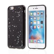 Kryt pro Apple iPhone 6 / 6S - gumový - černý - hvězdy a třpytky