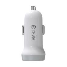 2v1 nabíjecí sada DEVIA pro Apple zařízení - autonabíječka s 2 USB porty (3.1A) a kabel Lightning - bílá