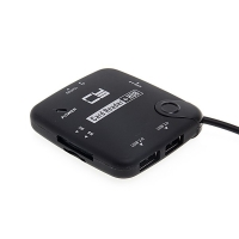 2v1 čtečka paměťových karet TF / SD (HC) / MS / M2 + USB HUB - rozbočovač 3x USB na USB-C - černá