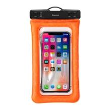 Pouzdro BASEUS pro Apple iPhone - voděodolné - plast / guma - oranžové / průhledné