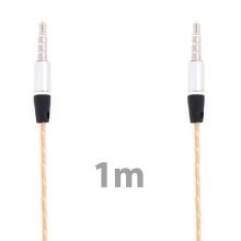 Propojovací audio jack kabel 3,5mm pro Apple iPhone / iPad / iPod a další zařízení - zlato-průhledný - 1m