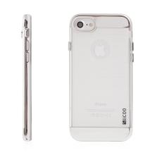 Kryt SLiCOO pro Apple iPhone 7 / 8 gumový / stříbrný plastový rámeček - broušený vzor - průhledný