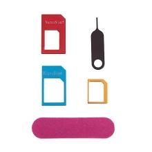 Redukce na SIM kartu (Nano SIM / Micro SIM / standardní SIM) + vysouvací jehla a brousek