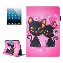 Pouzdro pro Apple iPad mini / mini 2 / mini 3 / mini 4 - stojánek + prostor pro doklady - kočičky