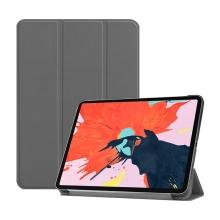 """Pouzdro / kryt pro Apple iPad Pro 12,9"""" (2018) - funkce chytrého uspání + stojánek - umělá kůže - šedé"""