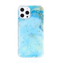 Kryt FORCELL pro Apple iPhone 12 Pro Max - mramorová textura a zlaté úlomky - gumový - modrý