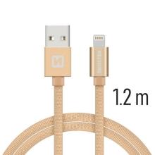 Synchronizační a nabíjecí kabel SWISSTEN - MFi Lightning pro Apple zařízení - tkanička - zlatý - 1,2m