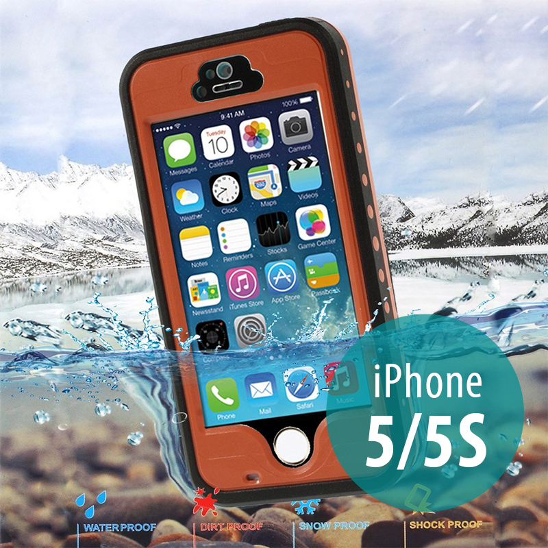Voděodolné plastové pouzdro Redpepper pro Apple iPhone 5 / 5S / SE s podporou funkce Touch ID - oranžové s černým rámečkem