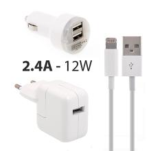 3v1 12W EU napájecí adaptér + autonabíječka s 2x USB porty (2.1A) + kabel Lightning pro Apple iPhone / iPad / iPod - bílá
