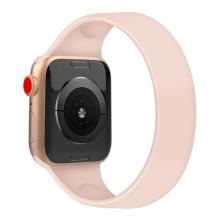 Řemínek pro Apple Watch 44mm Series 4 / 5 / 6 / SE / 42mm 1 / 2 / 3 - bez spony - silikonový - velikost S - růžový
