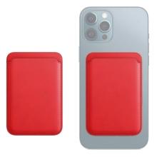 Pouzdro na platební karty s MagSafe uchycením pro Apple iPhone - umělá kůže - červené
