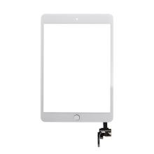 Dotykové sklo (touch screen) s IC konektorem a flex s Home Buttonem pro Apple iPad mini 3 - bílé se stříbrným tlačítkem - kvalita A