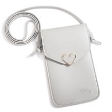 Pouzdro / brašna pro Apple iPhone - průhledná zadní strana - zlatá spona - umělá kůže - šedá