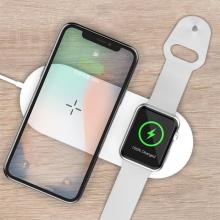2v1 bezdrátová nabíječka / podložka Qi DEVIA pro Apple Watch / iPhone - bílá