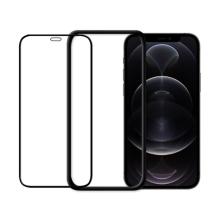 Tvrzené sklo (Tempered Glass) ODZU pro Apple iPhone 12 Pro Max - přední - černý rámeček - 2,5D - 0,3mm
