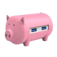 USB rozbočovač prasátko + čtečka karet ORICO - 3x USB 3.0 + SD / Micro SD čtečka - gumový / růžový