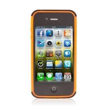 Dvoubarevný dvoudílný kryt pro Apple iPhone 4 - černo-oranžový