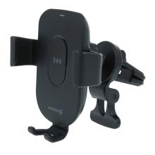 Držák do auta / bezdrátová nabíječka Qi SWISSTEN - gravitační uchycení - do ventilační mřížky - černý