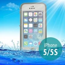 Voděodolné plastové pouzdro Redpepper pro Apple iPhone 5 / 5S / SE s podporou funkce Touch ID - bílé s šedým rámečkem