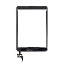 Dotykové sklo (touch screen) + IC konektor a flex s Home Buttonem pro Apple iPad mini 3 - černé