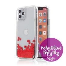 Kryt pro Apple iPhone 11 Pro - gumový rámeček - pohyblivá srdíčka - červený