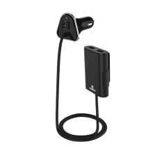 Nabíječka do auta HAWEEL s 4x USB porty (5V / 9,6A) a prodlužovací částí 1,8m - černá