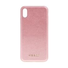 Kryt GUESS IriDescent pro Apple iPhone XS Max - umělá kůže - Rose Gold růžový