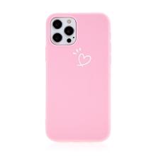 Kryt pro Apple iPhone 12 / 12 Pro - srdce - gumový - růžový