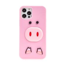 Kryt pro Apple iPhone 12 Pro Max - silikonový - růžový - 3D prasátko