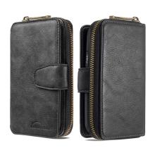Pouzdro / peněženka pro Apple iPhone 12 / 12 Pro - umělá kůže - černé